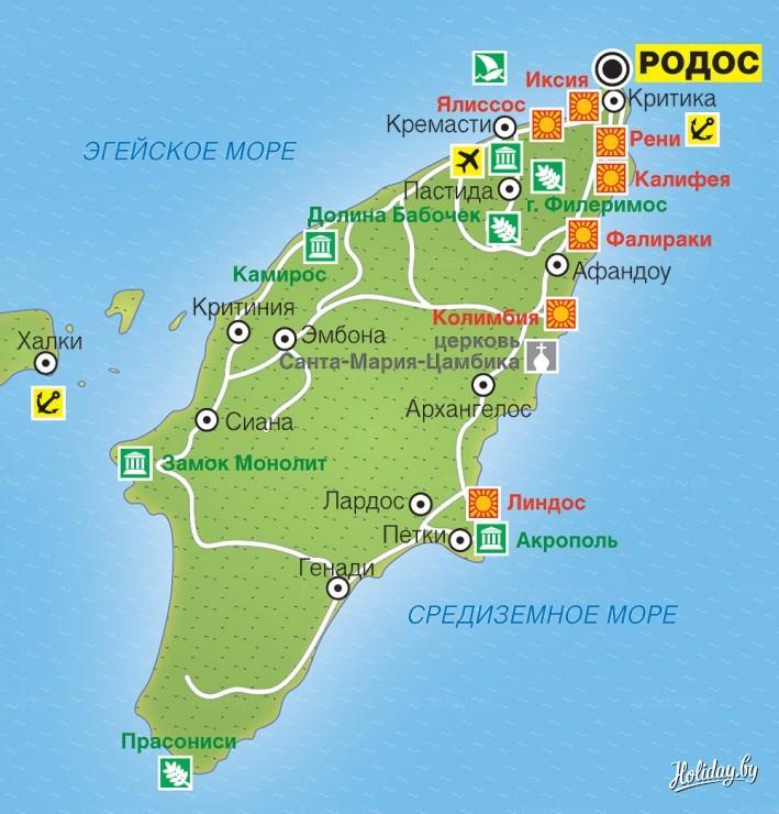 Kurorty Grecii Turisticheskaya Karta Ostrova Rodos Turisticheskij
