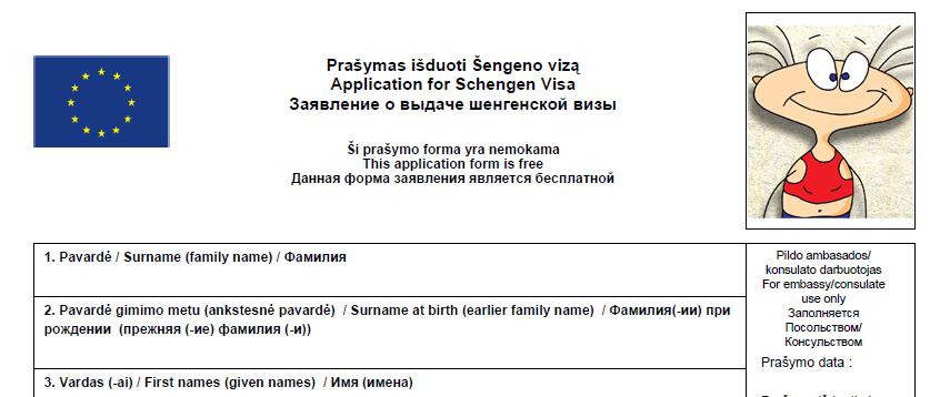 Campione questionario riempimento visto Schengen Bronte