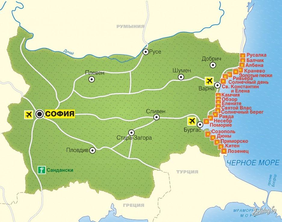 Turisticheskaya Karta Bolgarii Turisticheskij Blog Ob Otdyhe V Belarusi