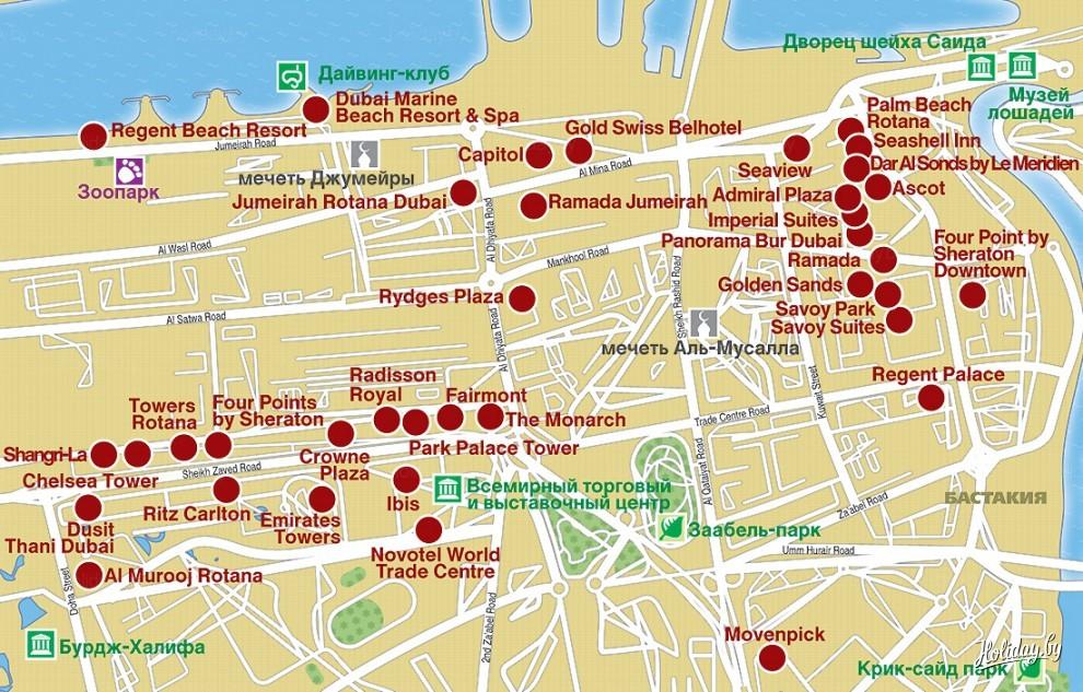 Курорты ОАЭ. Туристическая карта Бар-Дубаи - туристический блог об ...